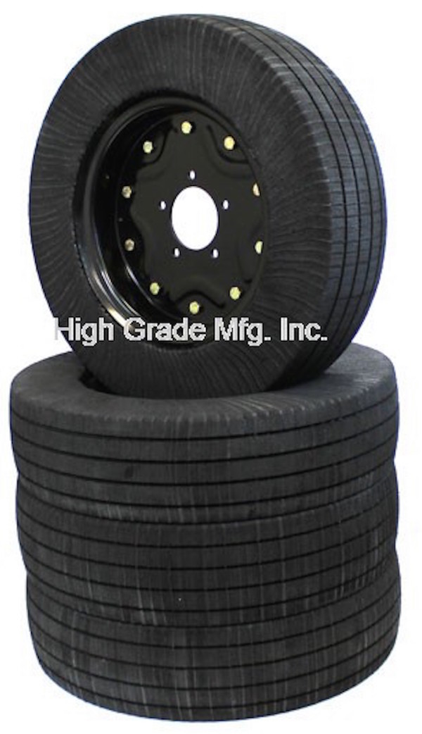 Higg Grade's solid rubber tires were designed to replace foam-filled aircraft tires.
